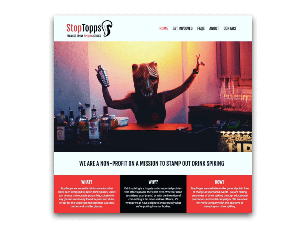 StopTopps anti drink spiking website screenshot